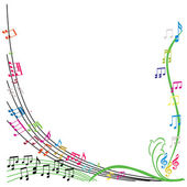 Music notes composition, stylish musical theme background, vecto — Stock Vector