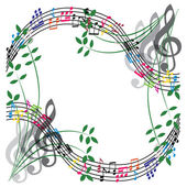 Music notes composition, musical theme background, vector illust — Stockvektor