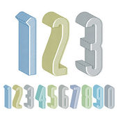 3d extra tall numbers set with lines textures. — Stock Vector