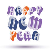 Happy New Year card with phrase made with 3d retro style geometr — Stockvector