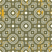 Old geometric seamless pattern, vintage vector repeat background — Vettoriale Stock
