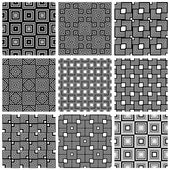 Squares black and white geometric seamless patterns set, vector  — Stock Vector