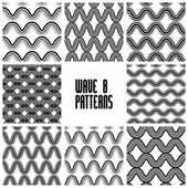 Waves black and white seamless patterns set, geometric vector ba — Stockvector