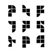 Geometric simplistic icons set, vector abstract symbols. — Stock Vector