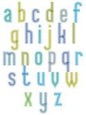 Echo typeset, striped retro 70s style font. — Stok Vektör