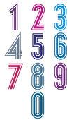 Zestaw liczb funky retro paski. — Wektor stockowy