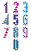 Funky retro stripes numbers set. — Stock Vector