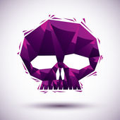 Violet skull geometric icon made in 3d modern style, best for us — Stock Vector