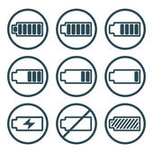 Battery charge indicator icons isolated on white background vect — ストックベクタ