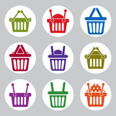 Shopping basket icons vector set, supermarket shopping simplisti — ストックベクタ