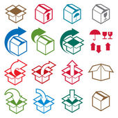 Packaging boxes icons isolated on white background vector set, p — Stock Vector