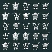 Shopping cart icons vector set, supermarket shopping simplistic  — Stock Vector