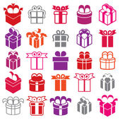 Gift boxes icons isolated on white background vector set, surpri — Stock Vector