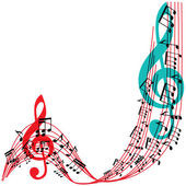 Music notes background, stylish musical theme frame, vector illu — Stock Vector