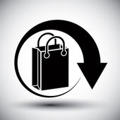 Shopping bag delivery vector simple single color icon. — Stock Vector