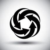 Five arrows loop conceptual icon, abstract new idea vector symbo — Stock Vector