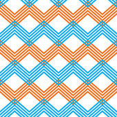 Zig zag geometric pattern, vector retro style background. — Vettoriale Stock