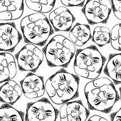 Funny faces sömlös bakgrund, svarta och vita linjer vektorgrafik ca — Stockvektor