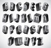 3d teckensnitt, geometrisk tredimensionell bokstäver set. — Stockvektor