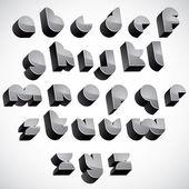 3d futuristic font, geometric dimensional letters set. — Vector de stock