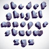 3d futuristic round font, monochrome dimensional alphabet. — Vector de stock