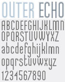 OUTER ECHO retro striped rounded font. — Stock Vector
