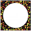 Fruits frame made with different fruits over dark background, ve — Stock Vector