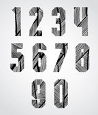 Bold condensed poster style numbers with hand drawn lines patter — Stock Vector