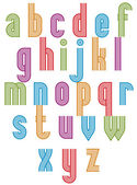 Retro style stripe trendy font. — Vector de stock