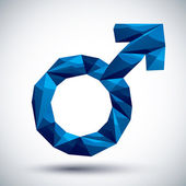 Blue male sign geometric icon made in 3d modern style, best for  — Wektor stockowy