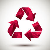 Red recycle geometric icon made in 3d modern style, best for use — Stock Vector