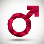 Red male sign geometric icon made in 3d modern style, best for u — Wektor stockowy