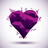 Violet heart geometric icon made in 3d modern style, best for us — Wektor stockowy