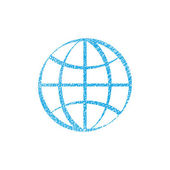 Earth simplistic vector icon with hand drawn lines texture. — Stock Vector