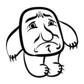 伤心的卡通怪物,黑线和白线矢量图. — 图库矢量图片