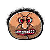 Angry cartoon face with stubble, vector illustration. — Stock Vector