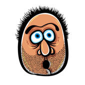 Funny cartoon face with stubble, vector illustration. — Stock Vector