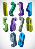 3d extra tall numbers set in blue and green colors made with rou — Stock Vector
