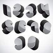 3d futuristic numbers set. — Vector de stock