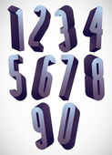 3d tall condensed numbers set. — Stock Vector