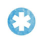 Emergency ambulance vector symbol  with pixel print halftone dot — Stock Vector
