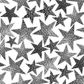 Stars seamless pattern, vector repeating black and white backgro — Stock Vector