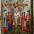 The crucifixion of Jesus Christ (art icon 18th century, Ukraine) — Stock Photo