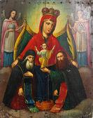 圣母玛利亚和耶稣基督 (乌克兰,19 世纪的艺术图标 — 图库照片