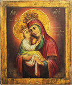 Art icon of Virgin Mary and Jesus Christ (Pochaiv, Ukraine) — Stock Photo