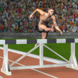 Man jumps over a hurdle - Stock Photo