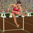Woman in hurdling — Stock Photo