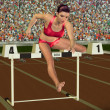 Woman in hurdling - Stock Photo