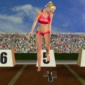 Runner on starting block — Stock Photo