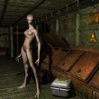 Alien in an old factory — Stock Photo
